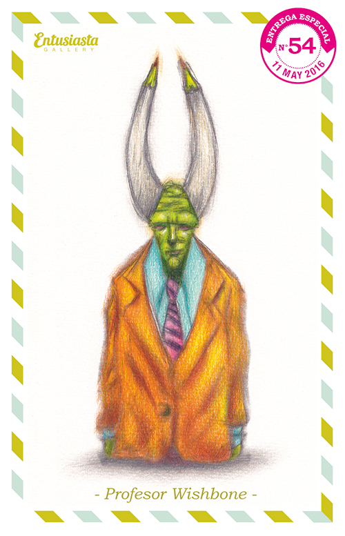 Low brow monster growing out of the earth, with horns, green face and a fancy coat.