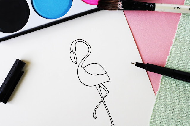 Flamingo zeichnen lernen - Anleitung
