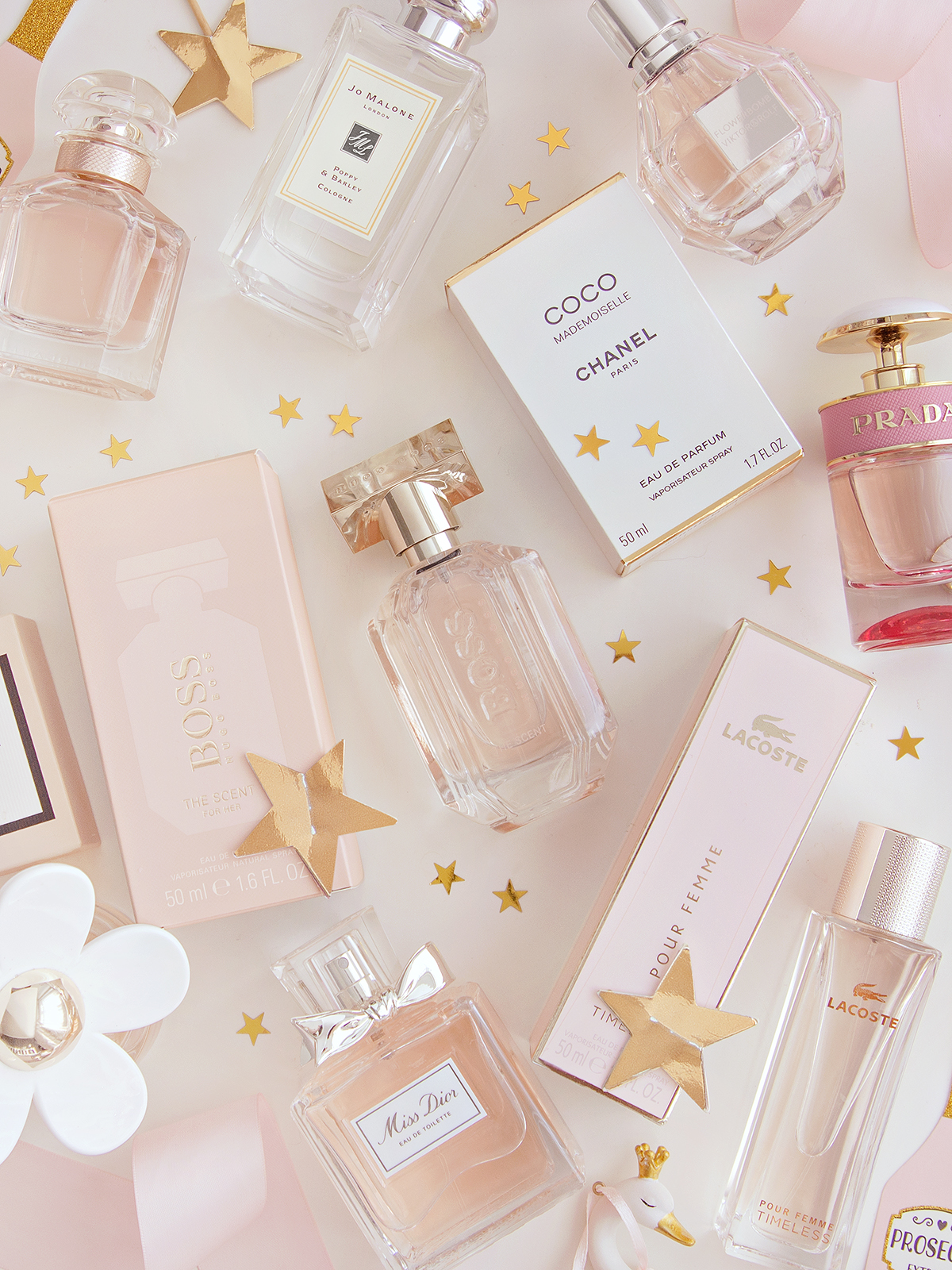 A selection of perfumes including Hugo Boss, Lacoste, Jo Malone, Guerlain, Dior