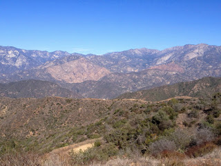 View northwest toward the Cabin Fire burn area in North Fork San Gabriel Canyon from Glendora Mountain ridge, Angeles National Forest