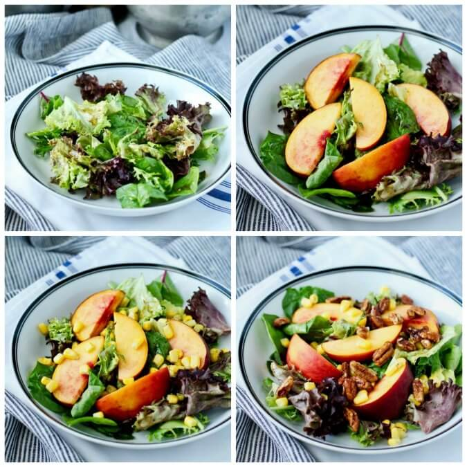 Assembling a Mixed Greens, Peach, and Corn Salad with Balsamic Maple Vinaigrette
