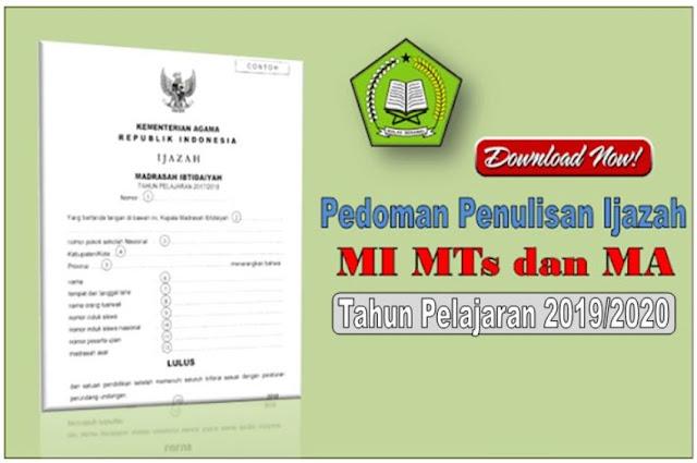 Juknis Penulisan Balngko Ijazah Madrasah dan SHUAMBN Tahun 2020 PDF