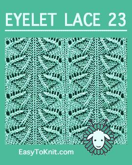 #Knit Umbrella stitch, Easy Eyelet Lace Pattern #easytoknit #knitlace