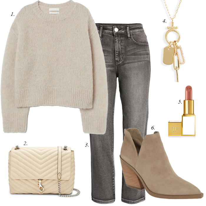 grey jeans beige sweater suede ankle booties charm necklace fall outfit