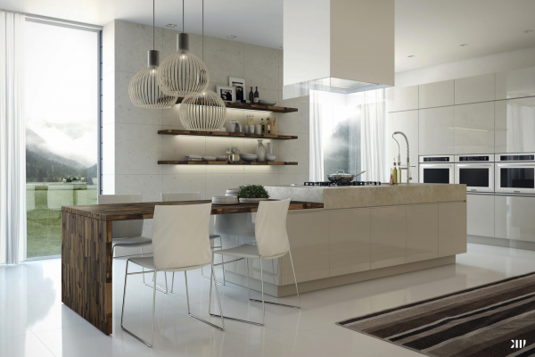 Arte y arquitectura cocinas con isla y mesa adosada for Cocina comedor con isla