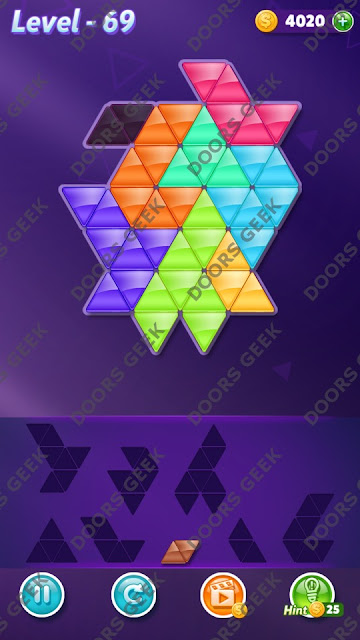 Block! Triangle Puzzle 8 Mania Level 69 Solution, Cheats, Walkthrough for Android, iPhone, iPad and iPod