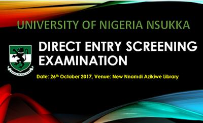 UNN 2017/2018 Direct Entry Screening Exam Date