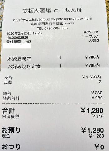 鉄板肉酒場 とーせんぼ 2020/2/23 飲食のレシート