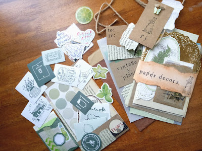 Bullet journal 2021 stationery: green stickers and vintage ephemeras for