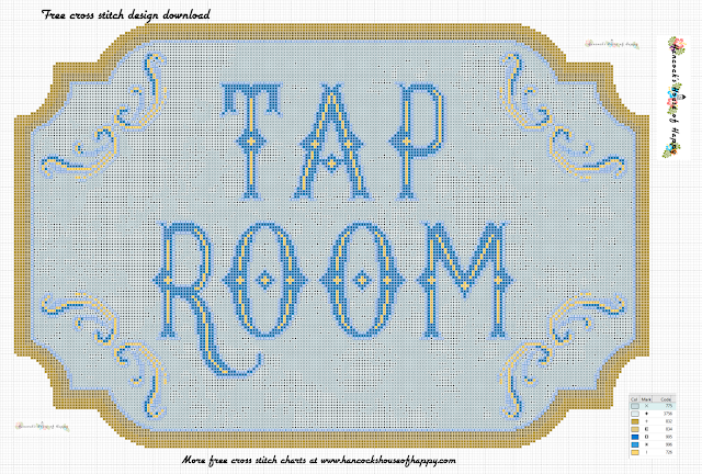 Two-for-One Vintage Tap Room Sign Free Vintage Craft Beer Cross Stitch Pattern