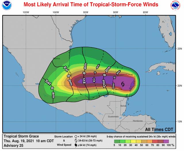 Disminuyen los vientos máximos sostenidos de Grace; avanza en el sur de Yucatán