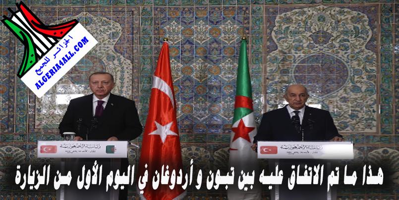 هذا ما تم الاتفاق عليه بين تبون و أردوغان في اليوم الأول من الزيارة