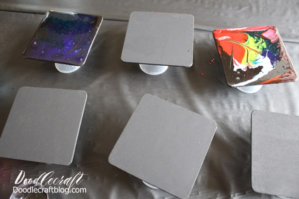 How to make resin galaxy coasters using the dirty pour technique to get amazing cells on a black canvas