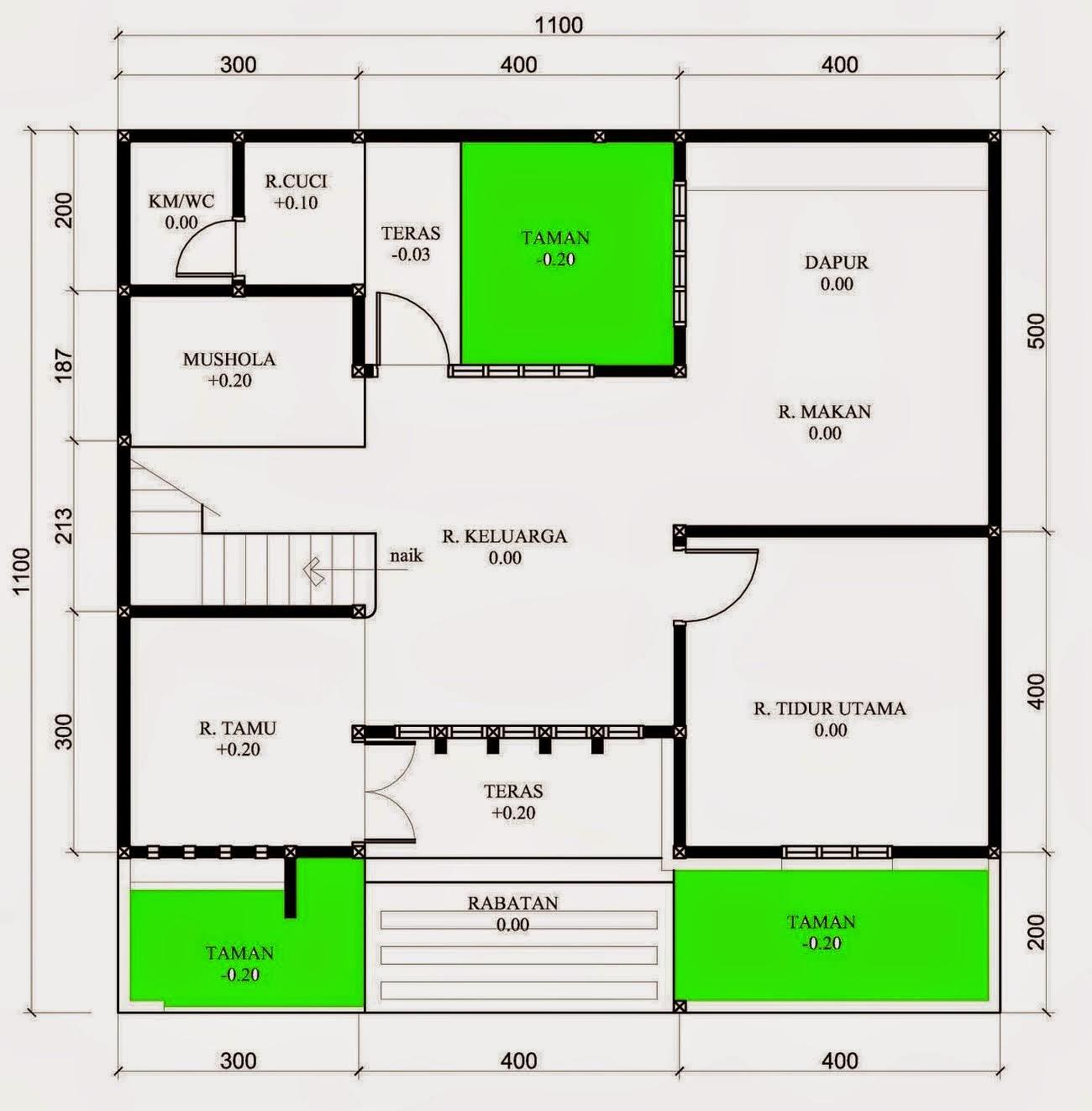 Denah Denah Rumah Ukuran 12 15 Lengkap Rancanghunian Cute766