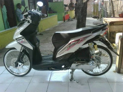 Modif Beat FI Warna Putih Velg Ring 17 Silver