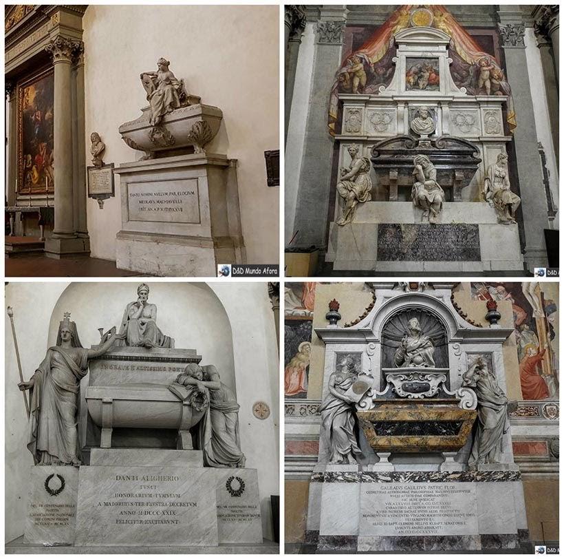 Túmulos de Maquiável, Michelângelo, Dante Alighieri e Galileu Galilei - Diário de bordo: 2 dias em Florença