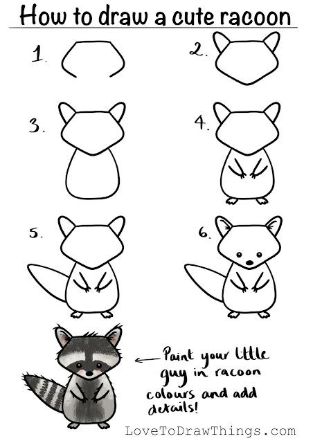 Easy step by step racoon drawing tutorial
