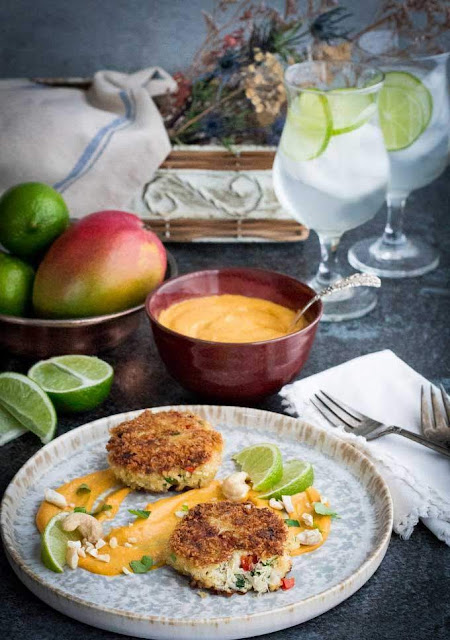 Crab Cakes with Mango-Lime Cashew Sauce | Savoring Today