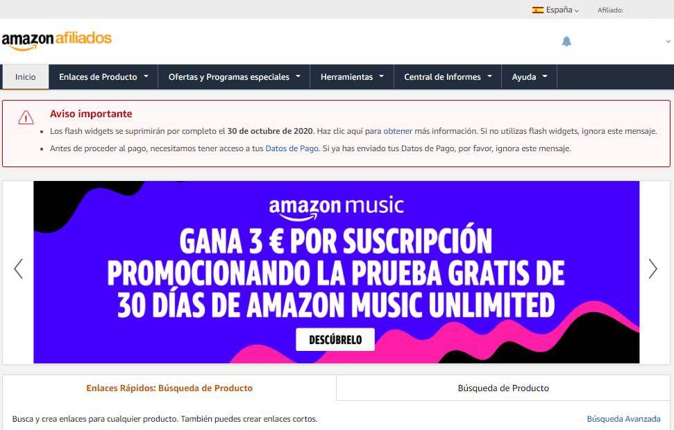 Ingreso en Amazon Afiliados