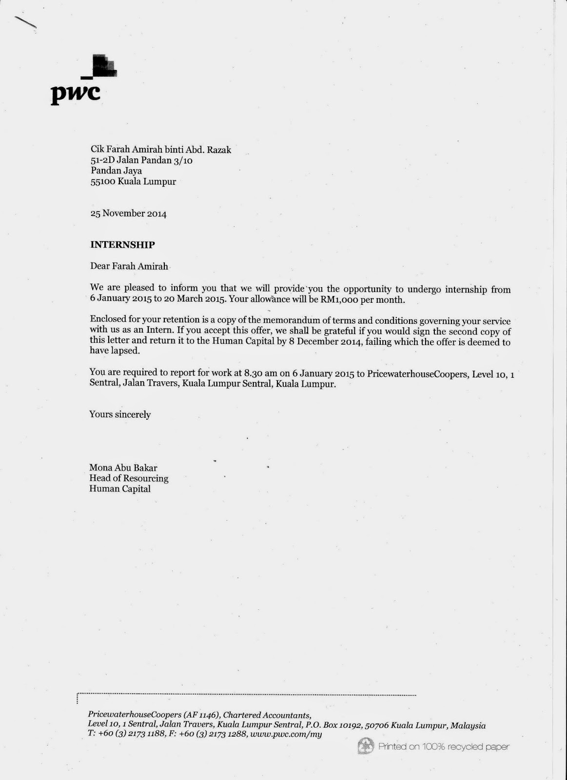 Farahs Portfolio Offer Letter