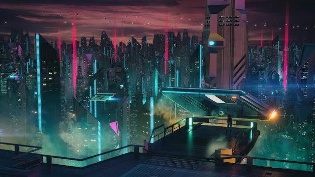 Ciudad en la noche 3D