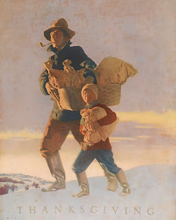 Collier's cover showing a man and his child walking through the snow with bags of food