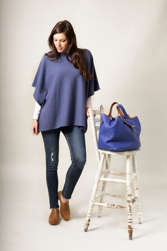 Rachel Wears Cashmere and Merino Poncho