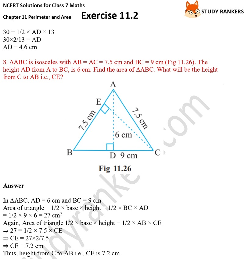 NCERT Solutions for Class 7 Maths Ch 11 Perimeter and Area Exercise 11.2 6