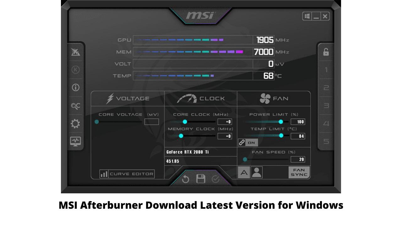 MSI Afterburner Download Latest Version for Windows