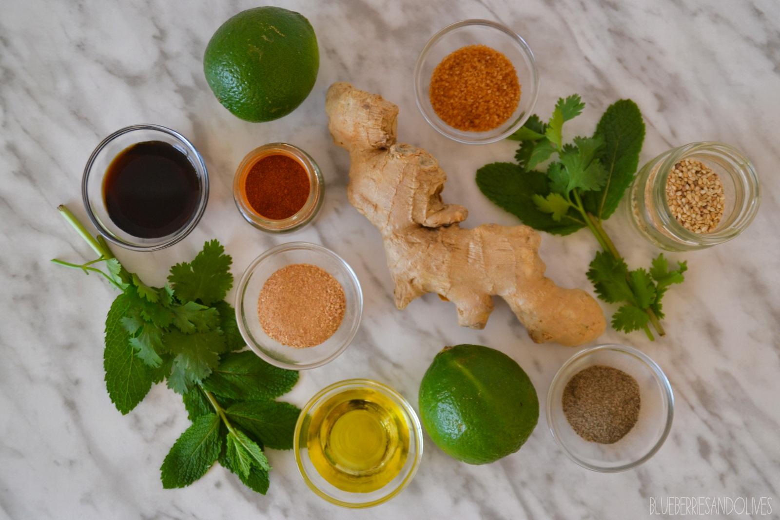 Ingredientes vinagreta - Ensalada de pepino y sandía con vinagreta oriental 5