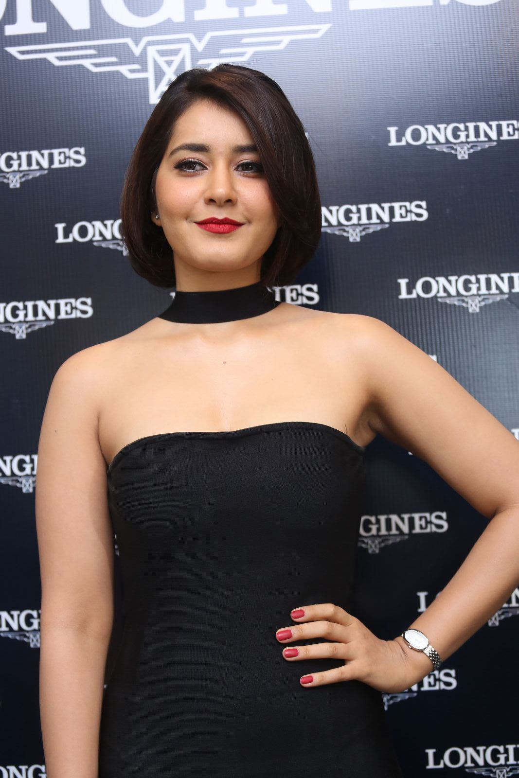 Raashi Khanna looks stunning in Black Strapless dress by Dimple And Amrin at Launch of Longines Watches