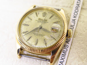ROLEX OYSTER PERPETUAL DATE JUST CREAM DIAL ALL GOLD HEADONLY - ROLEX 6605