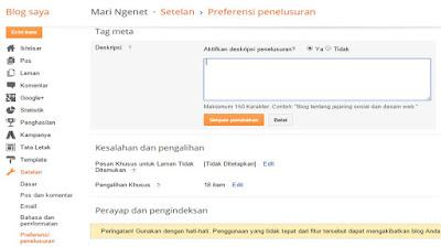 Menambahkan Meta Tag Diskripsi di Blogspot Tanpa Edit HTML