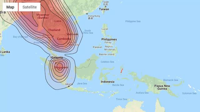 arah satelit laosat ku band dilihat dari peta