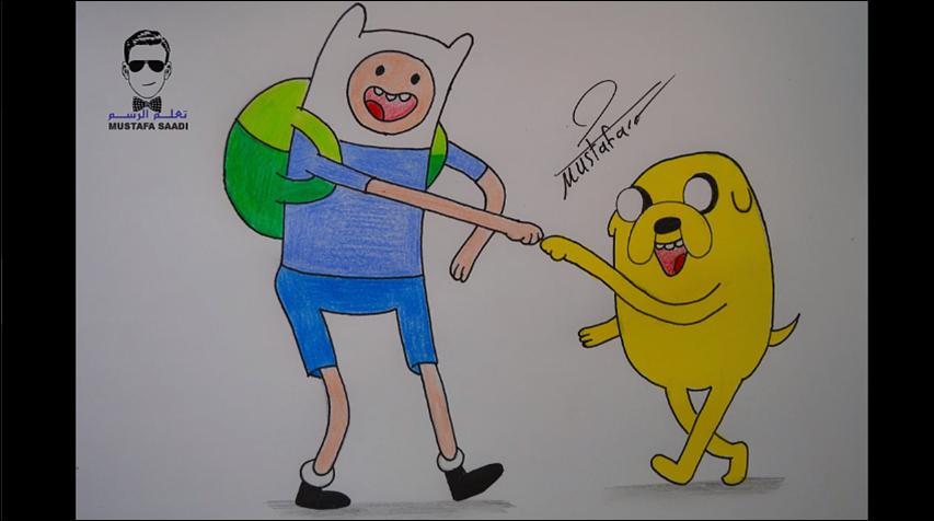 كيفية رسم كرتون وقت المغامرة فين وجايك بالرصاص والالوان الخشبية