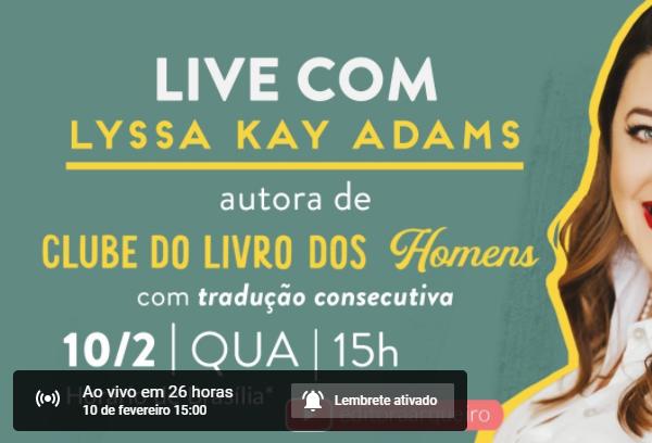 Live com Lyssa Kay Adams, autora de Clube do Livro dos Homens