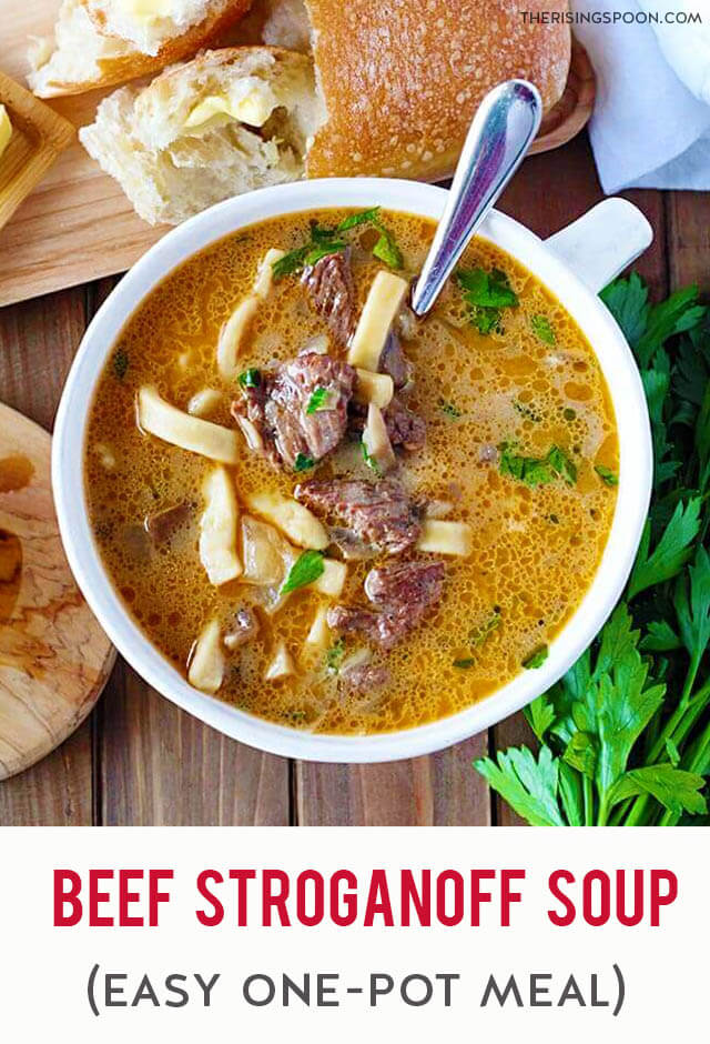 Love beef stroganoff but want to try something new? Fix this easy beef stroganoff soup! Prep it in 10 minutes & cook it all in one pot on the stovetop in about one hour! It's packed with tender beef, earthy mushrooms, fragrant onion and garlic, thick noodles & a rich, slightly creamy and savory broth. This makes an excellent dinner for cold weather (fall & winter months or even a rainy day) when you need a hearty meal to warm you up.