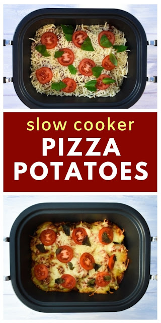 Slow Cooker Pizza Potatoes. Love pizza? If you do, you will love these simple slow cooker pizza potatoes. Minimum effort and maximum taste. Serve them as a side or with garlic bread. #pizza #pizzapotatoes #slowcookerpotatoes #crockpotpotatoes #slowcookerpizza #crockpotpizza #veganslowcookerrecipe #vegancrockpotrecipe #easycrockpot #easyslowcooker #pizza #potatoes