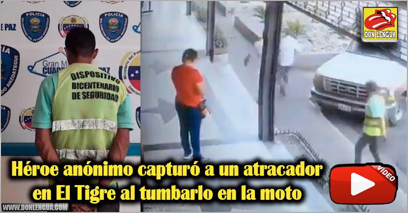 Héroe anónimo capturó a un atracador en El Tigre al tumbarlo en la moto