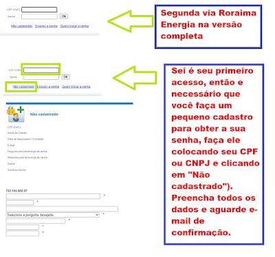 imagem da Pagina de acesso à Segunda via Roraima Energia versão completa