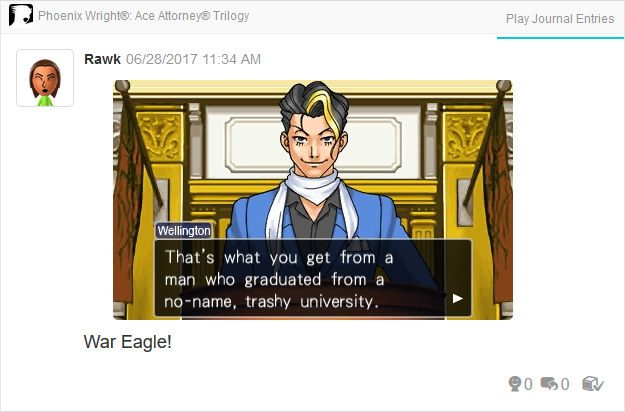 Phoenix Wright Ace Attorney Justice For All Richard Wellington graduated from trashy university