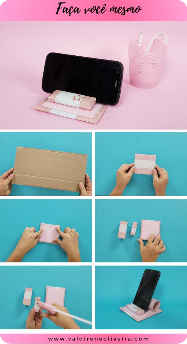 porta celular com papelão
