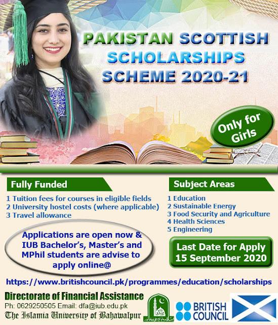 Pakistan Scottish Scholarships Scheme 2020-21 For IUB