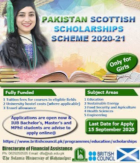 Pakistan Scottish Scholarships Scheme 2020-21 For IUB