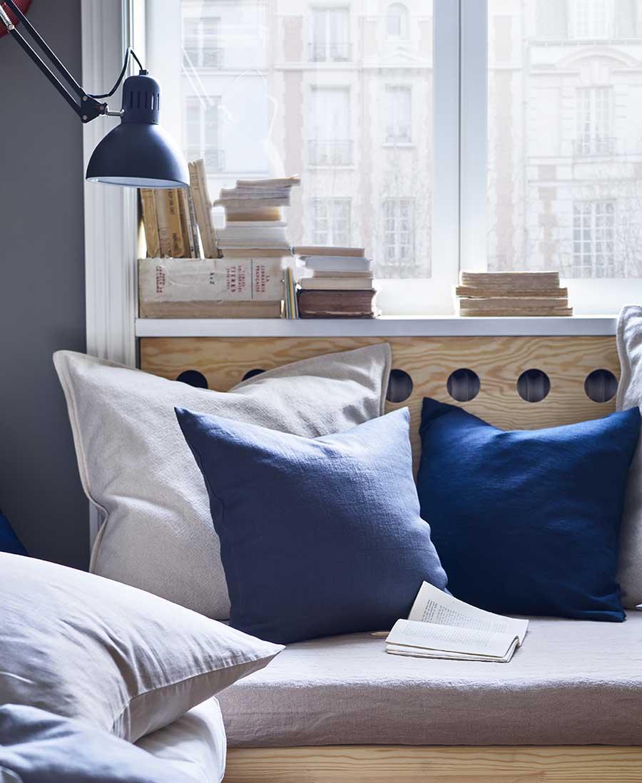catálogo ikea 2020 dormitorio nórdico textiles gris y azul