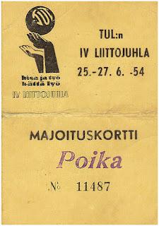 """TUL:n IV Liittojuhlien majoituskortti, merkinnällä """"Poika 11487""""."""