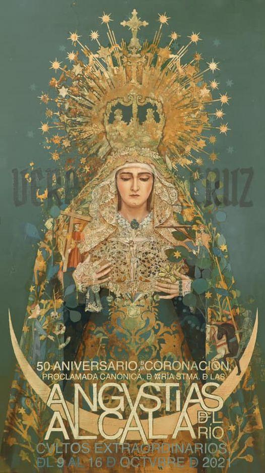 Cartel de los cultos Extraordinarios de Virgen de las Angustias, por su 50 Aniversario de su Coronación. Alcalá del Rio