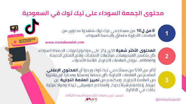 محتوى الجمعة السوداء على تيك توك في السعودية