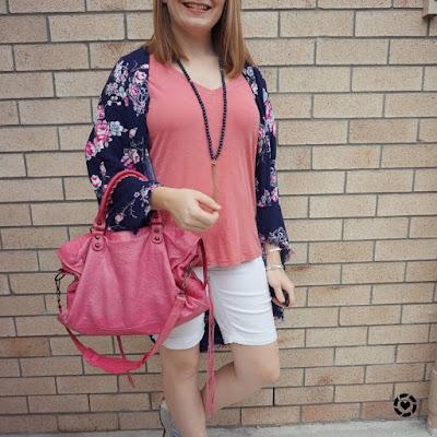 awayfromblue Instagram | white bermuda denim shorts with pink tee navy floral kimono balenciaga sorbet city bag