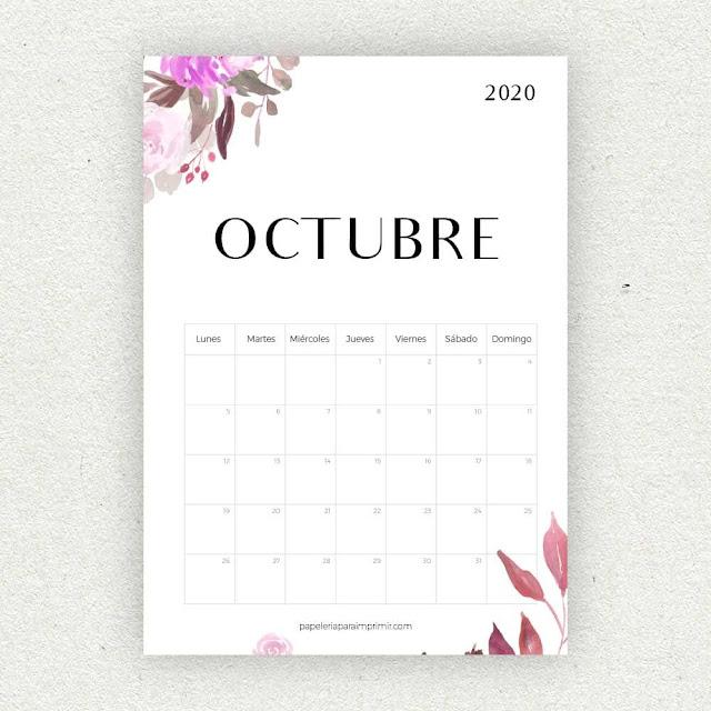 Calendario 2020 de Octubre para imprimir